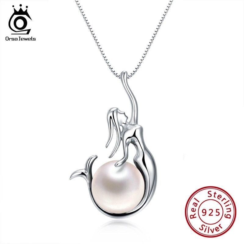 ORSA JEWELS 925 пробы, серебряные женские ожерелье и кулоны, пресноводного жемчуга, уникальный кулон Русалочка, модные женские украшения PSN48