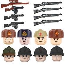 WW2 Soviet Union Infantry Soldiers Figures Building Blocks Military Army French Soldier Gun Helmet Parts Bricks Toy For Children