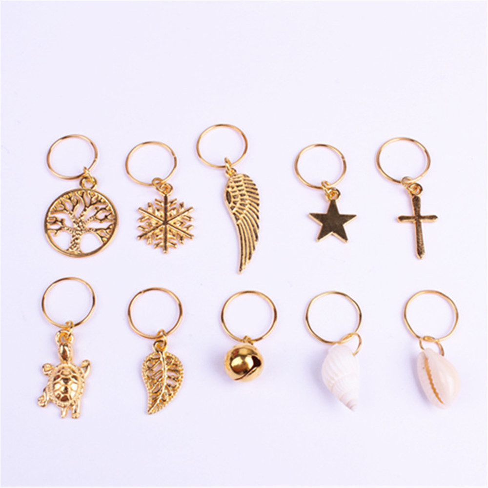 10Pcs/Pack Golden 11 Styles Charms Hair Braid Dread Dreadlock Beads Clips Cuffs Rings Jewelry Dreadlock Accessories