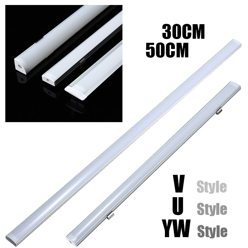 3Set 30/45/50cm U/V/YW-Style Shaped LED Bar Lights Aluminum Channel Holder Milk Cover End Up Lighting LED Strip Light Accessorie