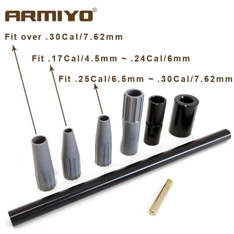 Armiyo. 17cal to. 30cal guia de furo universal para rifle m4 arma barril escova mais limpo ferramenta auxiliar caça acessórios