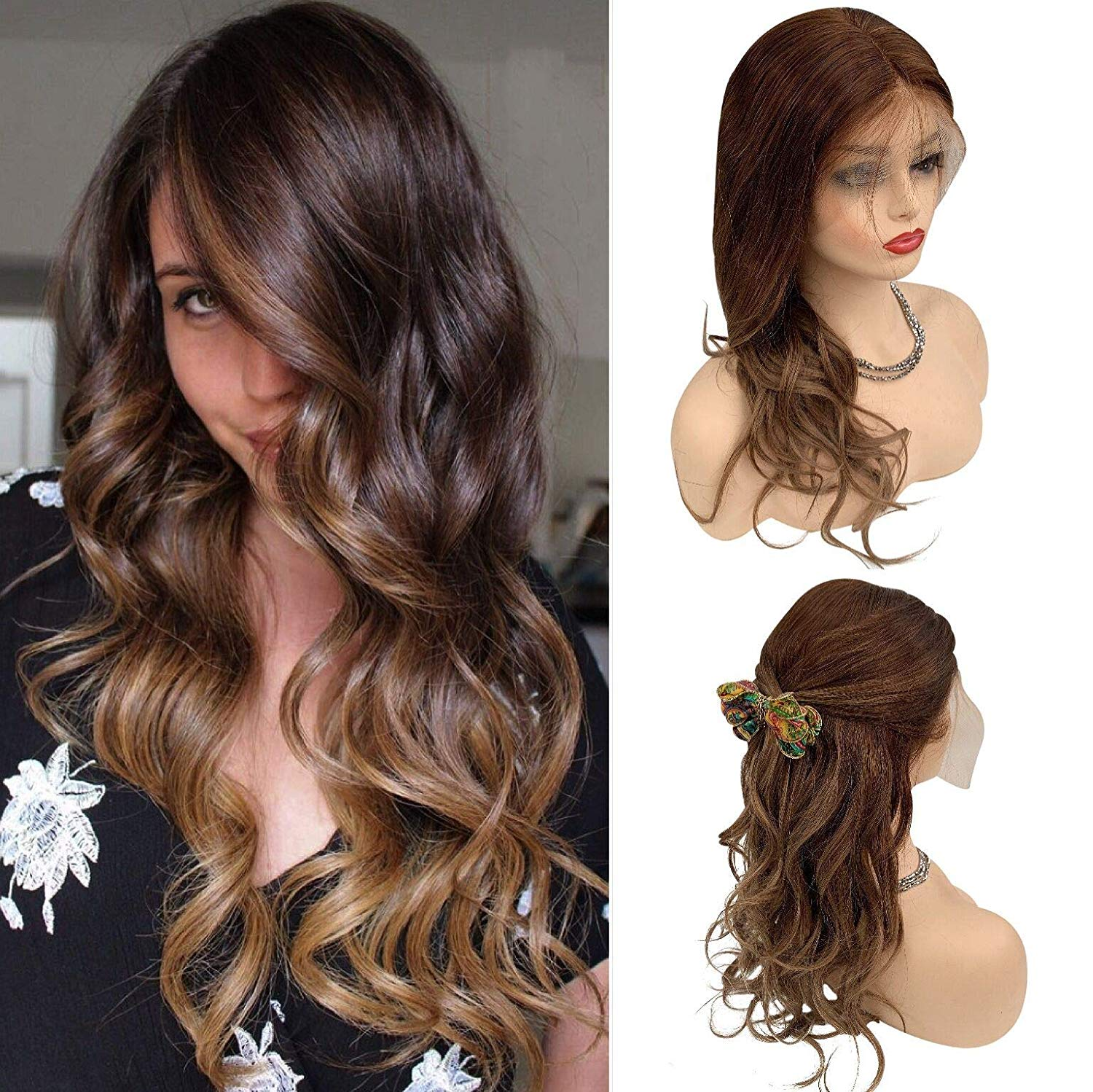 Human Hair Lace Front Natural Wave Wigs For Women Medium Brown Omber Ash Brown Highlights Wavy Wigs Pre Plucked Full Head #4/8A
