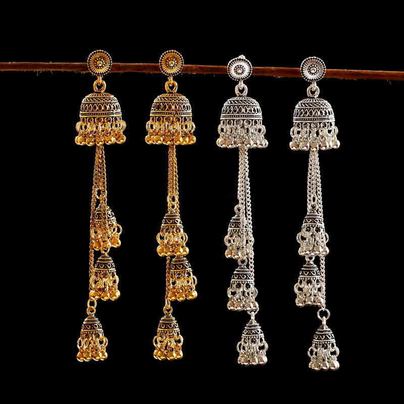 Hf1d4054ac00b4edba5748364d144970bf - Ethnic Gold Afghan Long Tassel Bead Drop Earrinngs Bollywood Jewellery Bell Jhumka Indian Earrings Wedding Jewelry