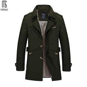 Image 5 - Manoswe 긴 트렌치 코트 남자 2019 새로운 남자 봄 캐주얼 재킷 윈드 브레이커 겉옷 고품질 패션 롱 코트