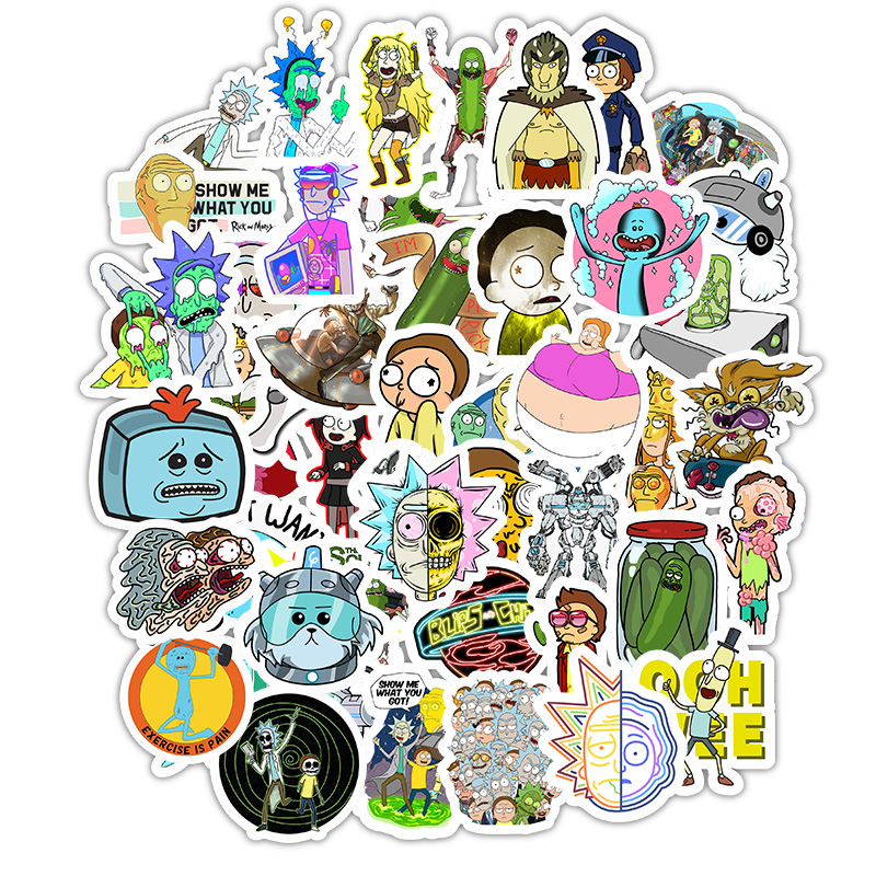 50pcs American Cartoon Drama Rick And Morty 2019 Stickers For Snowboard Luggage Car Fridge Car-Styling Laptop Stickers F5