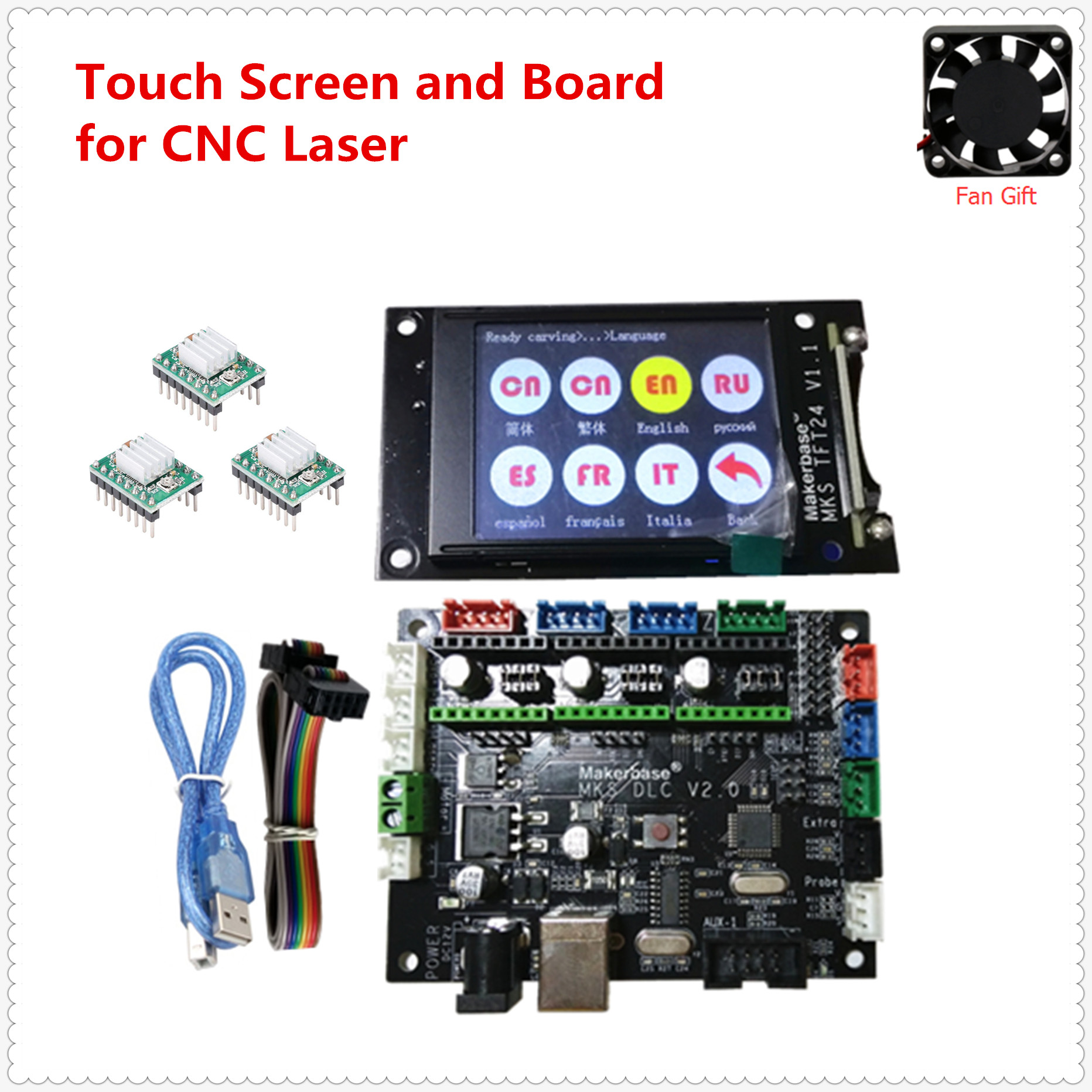 GRBL V1 1 expansion plate MKS DLC v2 0 motherboard CNC offline LCD display replace cnc shield v3 UNO R3 CNC 3018 PRO upgrade kit