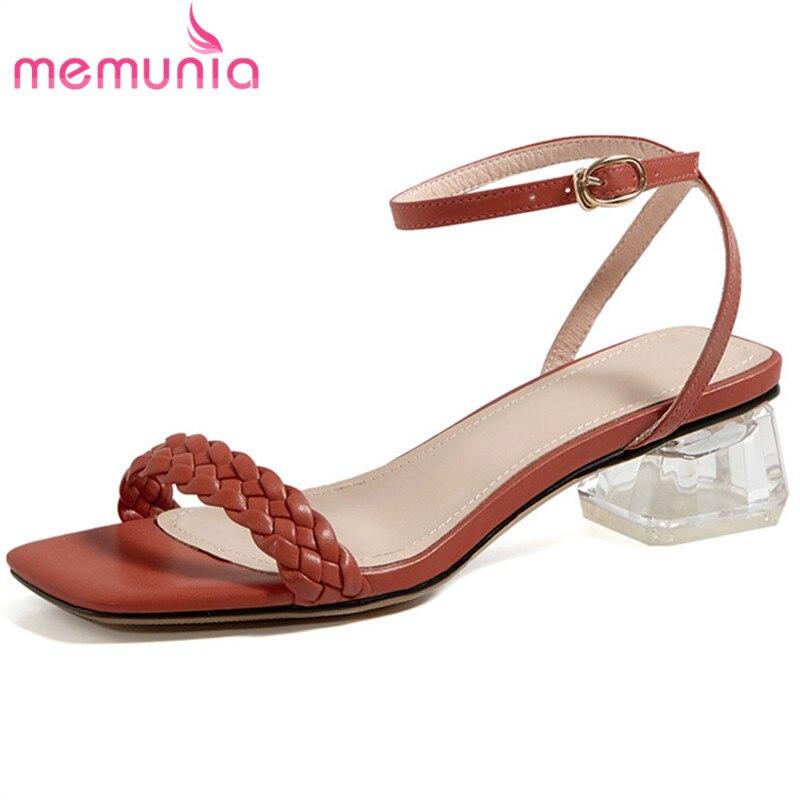 MEMUNIA 2020 top quality 3.5cm square heel casual party shoes women sandals fashion brand comfortable low heel sandals woman