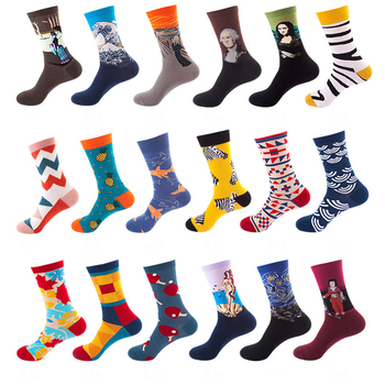 1 pair Men Women Cotton Skateboard Socks Striped Plaid Pineapple Animal Famous Painting Calcetines Hombre Socken Funny Socks fashionable striped style men s socks black white pair