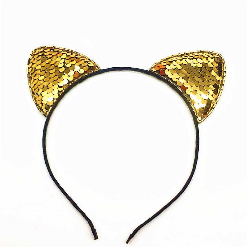 Śliczne błyszczące cekiny kocie uszy pałąk może odwrócić lśniące uszy kota hairband Kid akcesoria do włosów dla kobiet prezent urodzinowy