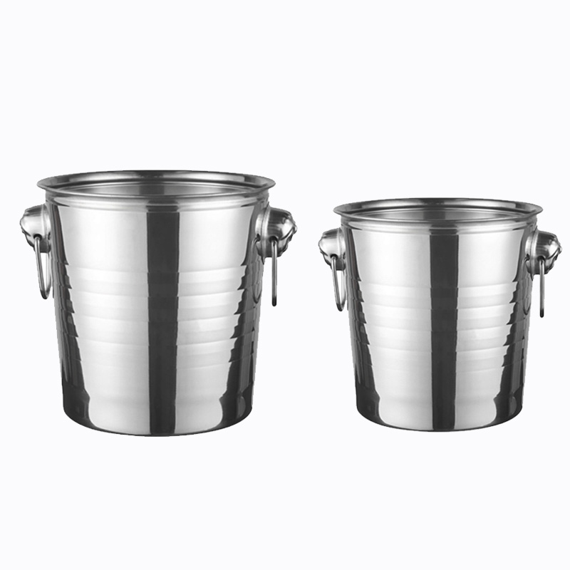 Stainless Steel Ice Bucket for Bar Party Champagne Wine Barrel Silver