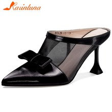 Karinluna 2020 Hot Sale High Quality Genuine Leather Pumps Mules Shoes Woman Strange Style Pointed Toe Slip-On Pumps Women(China)