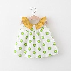 Платье для маленьких девочек без рукавов платье 2020 новое летнее платье с цветочным узором для младенцев с принтом в виде ромашек v-образным ...
