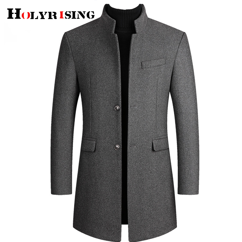 HOLYRISING Men Winter Wool Jacket High-quality Thick Wool Coat casual Woolen Pea Coat Male Trench Coat Casual Overcoat 19018-5