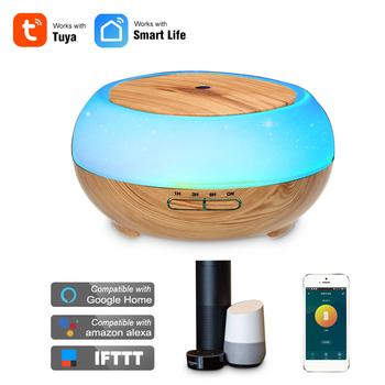 Inteligentny Wifi bezprzewodowy 400 ml zapachowy olejek eteryczny dyfuzor nawilżacz powietrza kompatybilny z Alexa i Google domu amazon sterowanie głosem tanie i dobre opinie homgeek 2 6-4l 14 w 24 v 36db CN (pochodzenie) Ulatniające się opary Aromaterapia Gospodarstw domowych Inne 11-20 ㎡