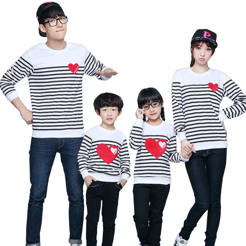 Spring Autumn Long Sleeve Love Stripe Father Daughter Baby Girl Boy T-shirt Clothes Family Matching Outfits Family Clothing Sets