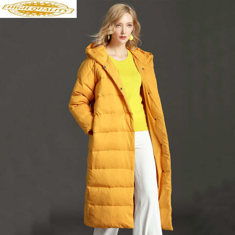 2020 Women's Down Jacket Hooded Winter White Duck Down Coat Women Plus Size Korean Long Overcoat Puffer Jackets LY-0016