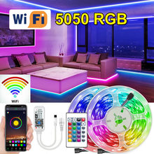 Wifi 5050 rgb led faixa de luz usb led luces fita diodo fita adaptador bluetooth conjunto para sala desktop tela tv backlight kitch