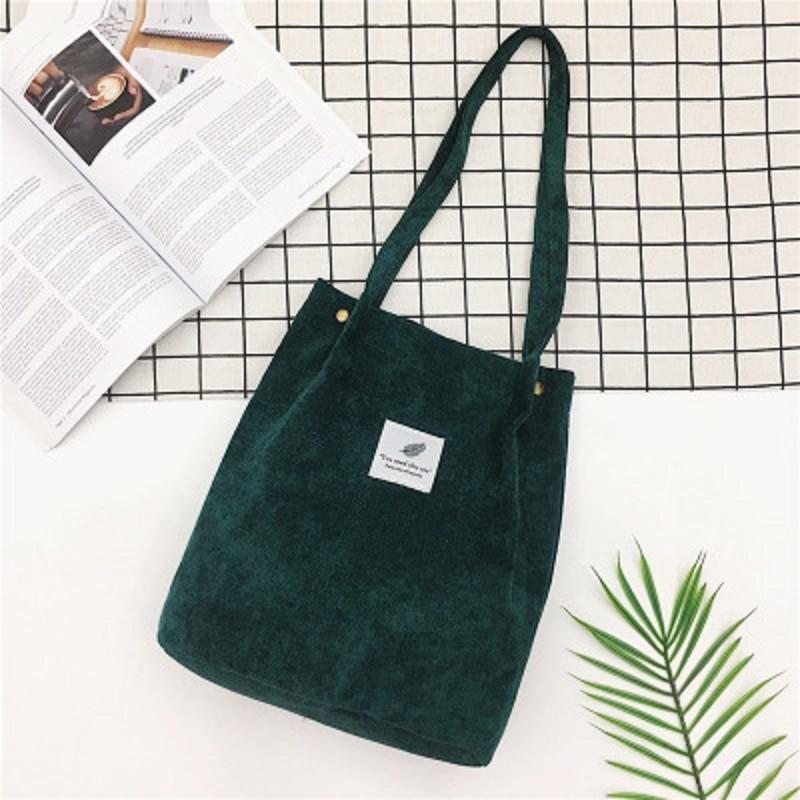 LOOZYKIT, Женские однотонные вельветовые сумки на плечо, сумка для покупок, большая посылка, сумки через плечо, кошельки, Повседневная сумка для женщин, сумка для книг - Цвет: green