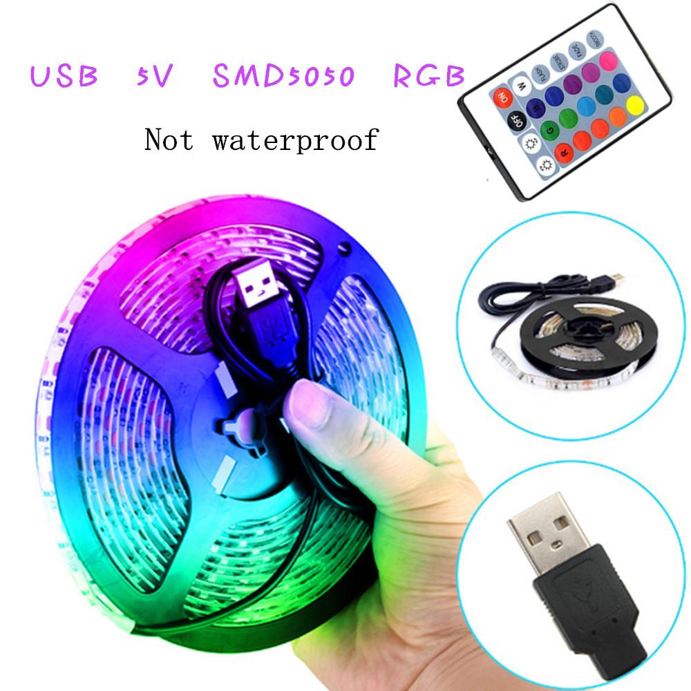 300cm-500cm USB LED Strip Remote Control Home Living Room Light TV Back Lamp 5050RGB 7 Colour Changing DC 5V String Lighting