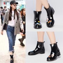 DRIPDROP Rain Boots Women Waterproof Anti Slip Rainboots Girls Fashion Rubber Shoes Spaceship Cats  Appliques