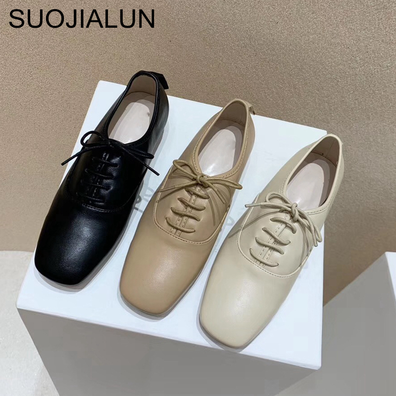 SUOJIALUN Women Flat Shoes High Quality Round Toe Comfort Ballerinas Spring Female Lace Up Moccasins Ladies Leisure Ballet Flat