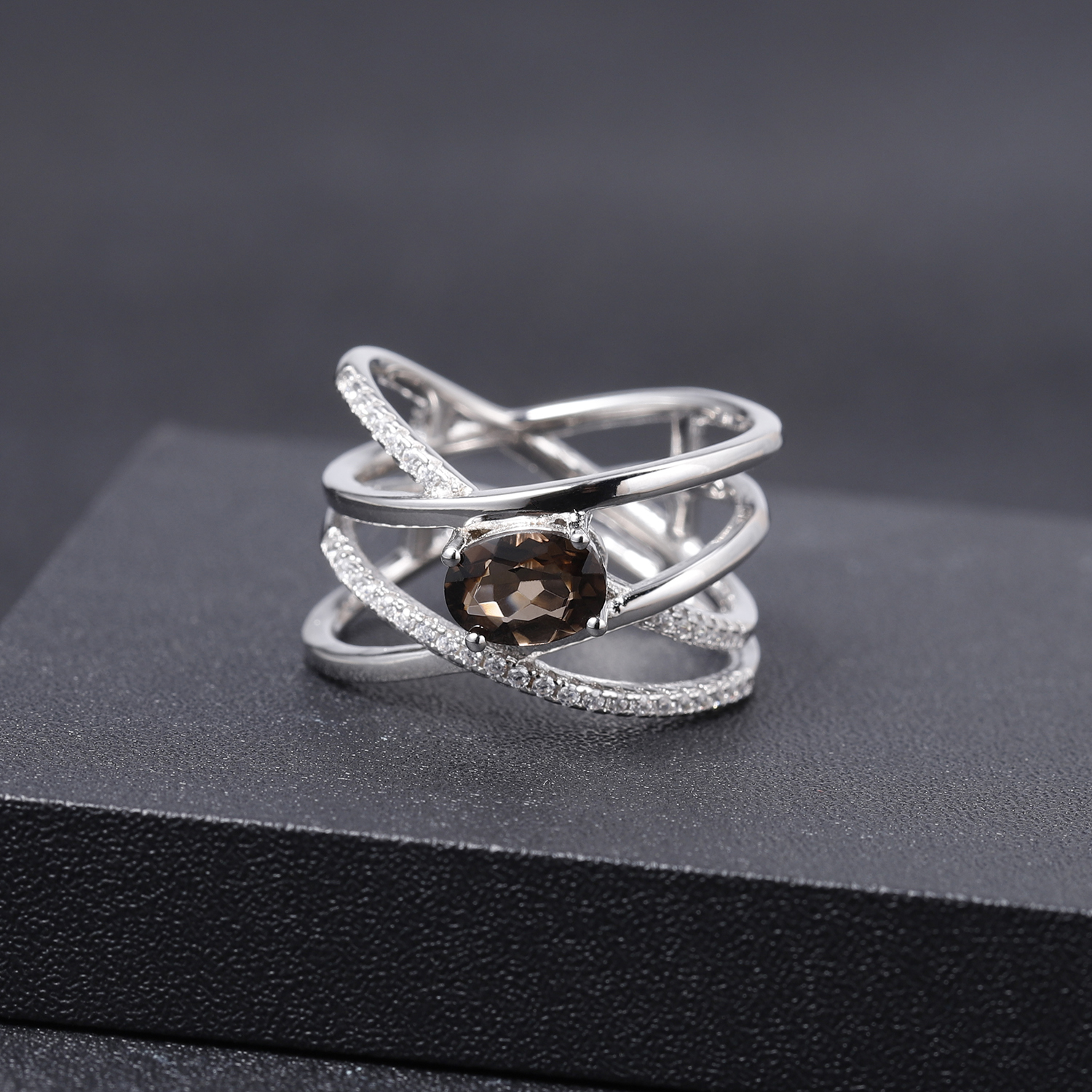 GEM'S BALLET Solid 925 Sterling Silver Cross Finger Ring 0.75Ct Natural Smoky Quartz Gemstone Band Rings For Women Fine Jewelry