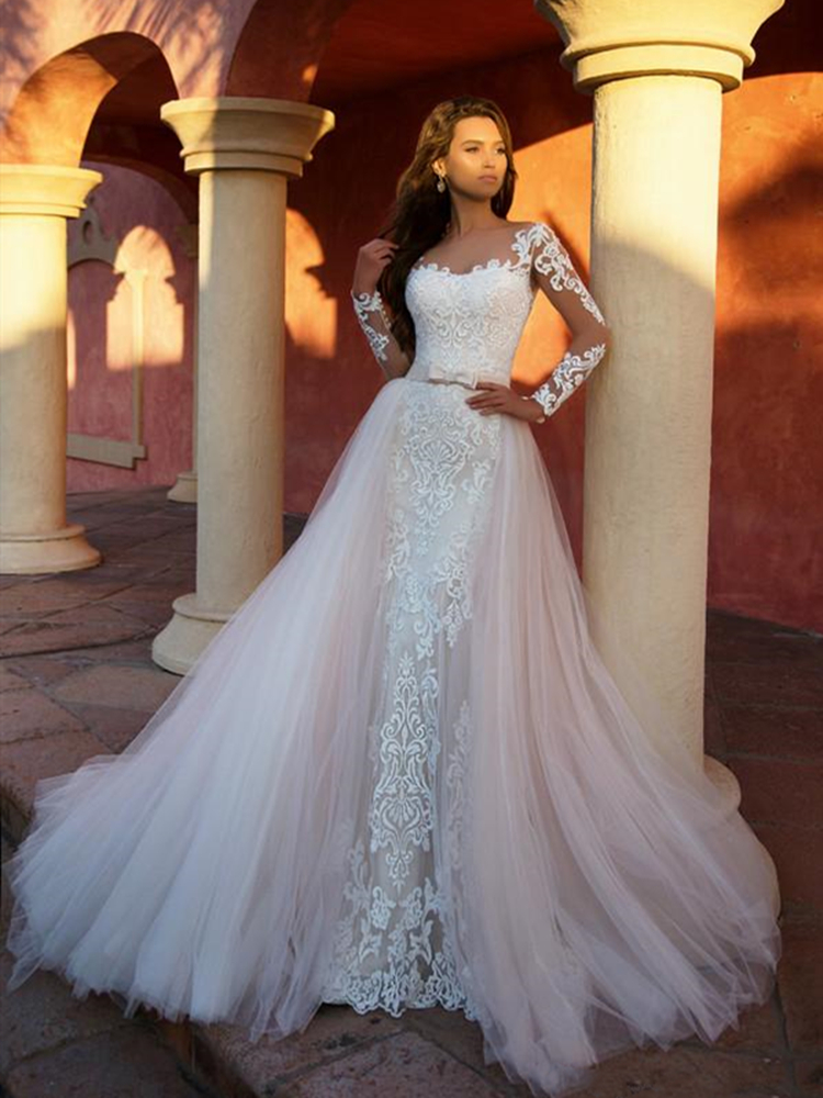 Detachable Overskirt Wedding Dress Two Pieces Removable Trail Scoop Neck Illusion Long Sleeve Vestido De Noiva Bridal Gowns