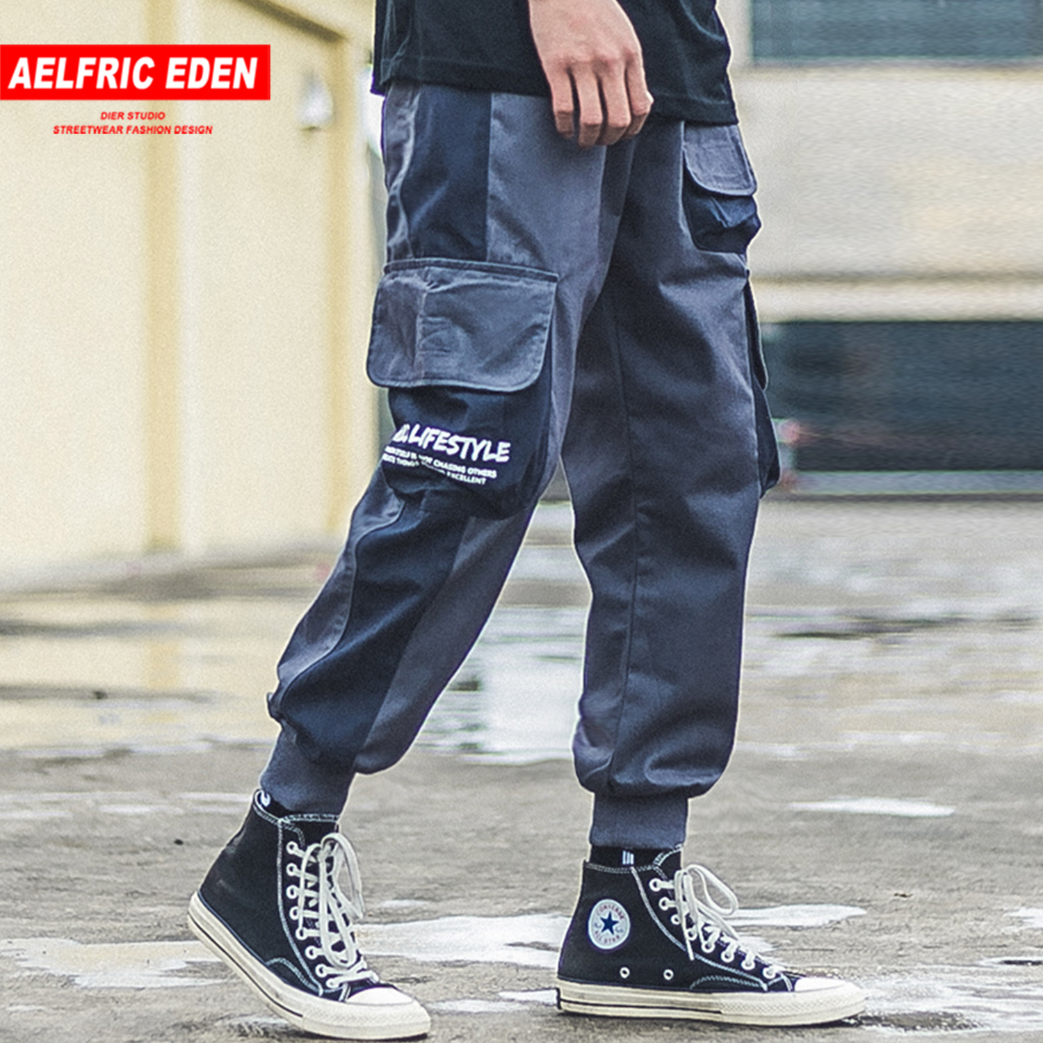 Aelfric Eden Multi Pockets Patchwork Cargo Pants Mens Harajuku 2019 Autumn Hip Hop Casual Joggers Trousers Streetwear Sweatpants