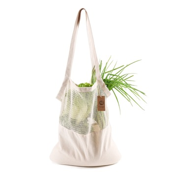 Eco friendly Vegetable Storage Bag reusable Cotton Net Bag For Fruit Vegetable Cotton Shopping Bags With Long Handle 1