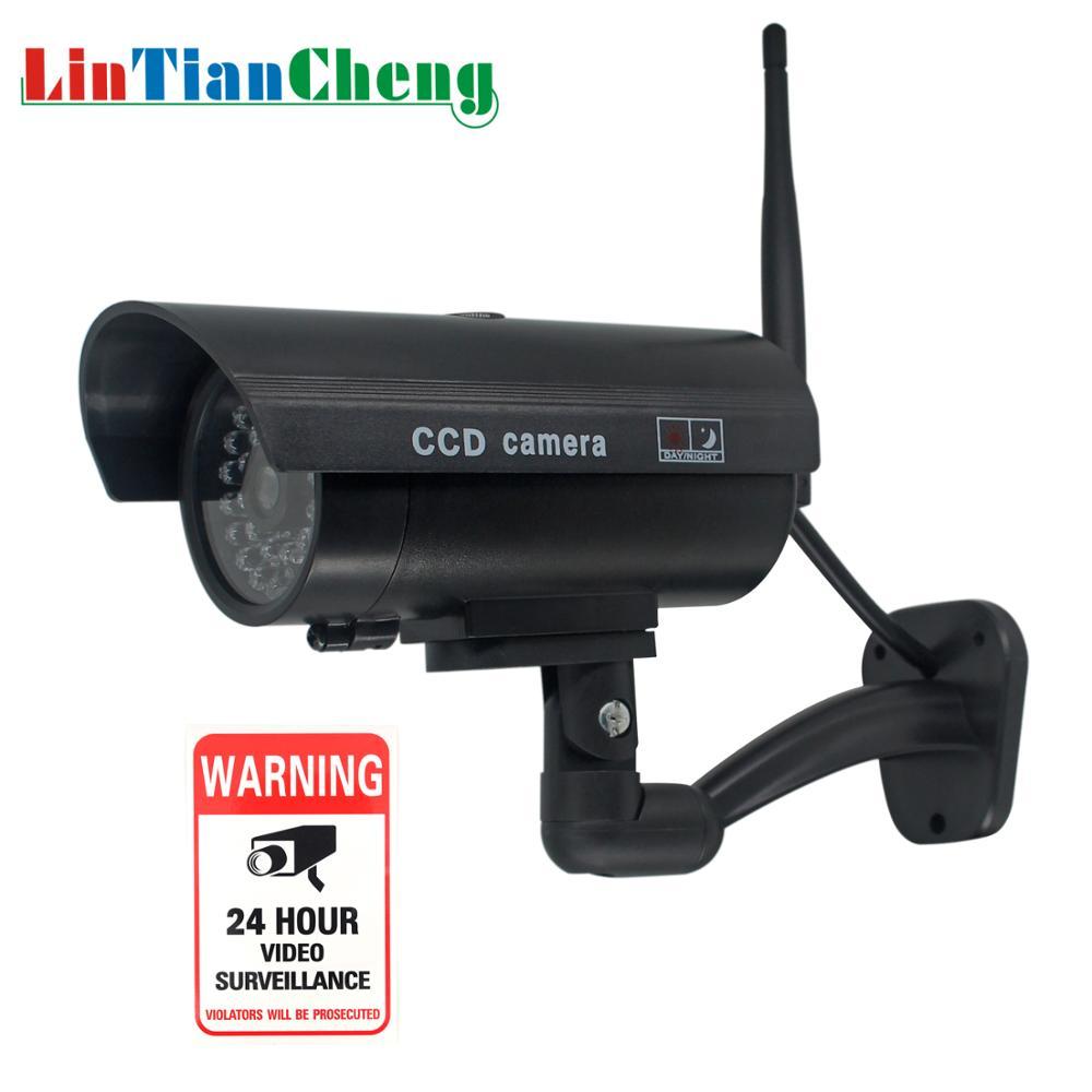 Caméra de vidéosurveillance factice balle étanche en plein air avec antenne WiFi pour la sécurité fausse caméra de Surveillance batterie clignotant LED