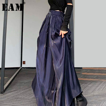 [EAM] High Waist Purple Pleated Stitch Long Wide Leg Trousers New Loose Fit Pants Women Fashion Tide Spring Summer 2020 1W419
