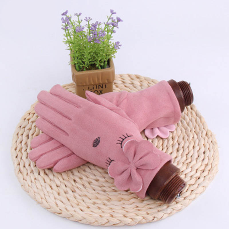 Touch Screen Mittens Women Winter Gloves Suede Leather Bow Eye Embroidery Knit Warm Mittens Gloves Thickening Driving Gloves E59