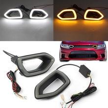 Rejilla frontal para coche Dodge Charger SRT 2015, 2016, 2017, 2018, 2019, luz LED amarilla, DRL, lámpara de señal de giro, lente de humo