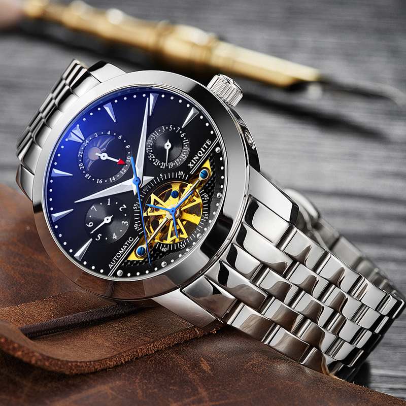 XINQITE Man watch 2019 brand luxury Mechanic Watches Stainless Steel Waterproof Automatic Watch Multi-function mechanical watch