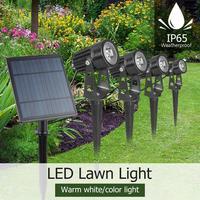 Focos solares de 4W para exteriores, focos para césped y jardín Led, focos de 4 piezas + 1 Panel Solar IP65, lámparas impermeables para jardín