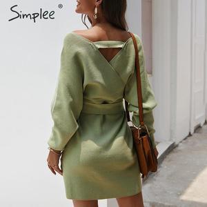 Image 5 - Simplee femmes mini robe pull envelopper taille haute col en v ceinture robe tricotée décontracté dames automne hiver vintage bureau robe sexy