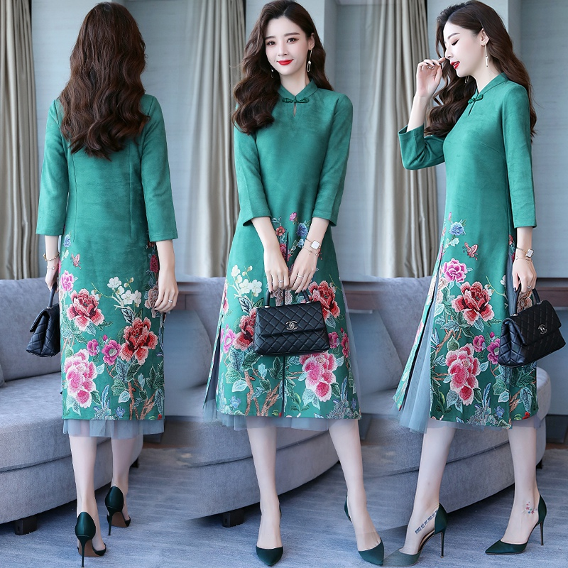 Chinese Style Printing Two-piece Dress 2018 New Autumn Deer Skin Velvet National Wind Lace Dress Tide
