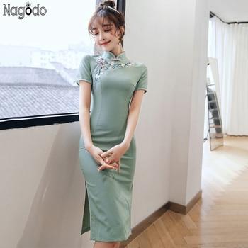 Nagodo Cheongsam vestido moderno 2020 nuevo algodón Lino bordado delgado vestido tradicional chino Oriental Vestido corto Qipao