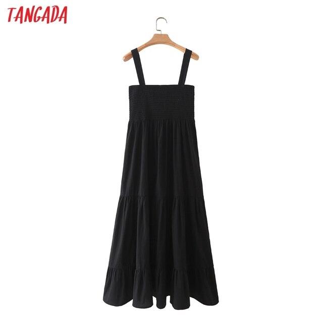 Tangada Women Black Cotton Dress Sleeveless Backless 2021 Fashion Lady Maxi Dresses 5X63 6