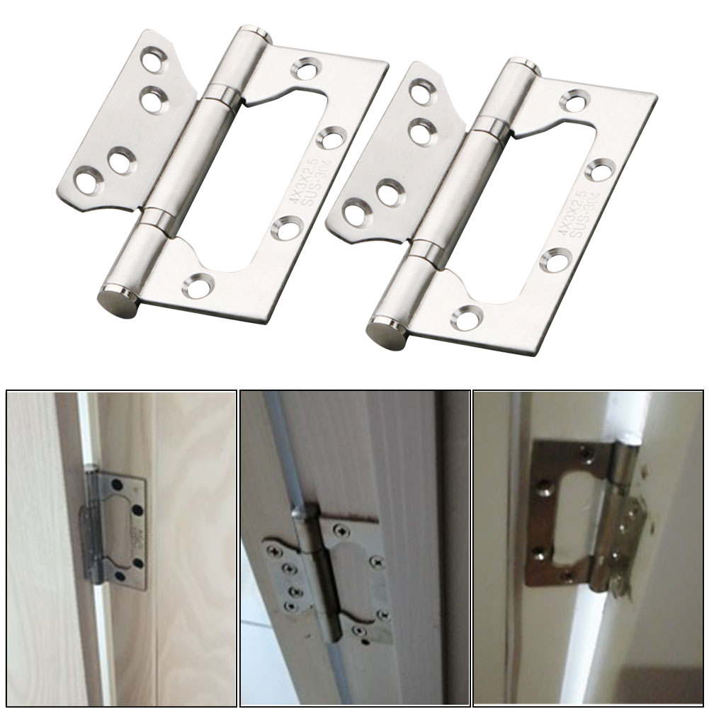2pcs Heavy Duty Home Stainless Steel Easy Install Door Hinge Replacement Parts Thickened Silent Weather Resistant Ball Bearing