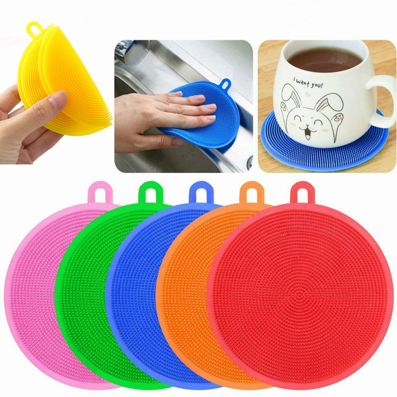 Multifunction Silicone Sponge Bowl Cleaning Brush Silicone Scouring Pad Silicone Dish Sponge Kitchen Pot Cleaner Washing Tool in Sponges Scouring Pads from Home Garden