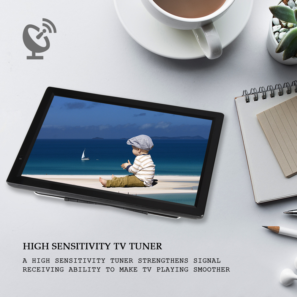 D14 14 pouces HD Portable TV DVB-T2 ATSC numérique analogique télévision Mini petite voiture TV Support MP4 AC3 HDMI moniteur pour PS4 (prise ue)