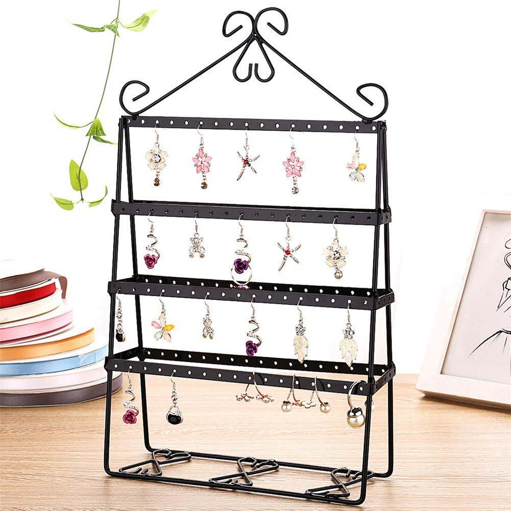 4 Layer 112 Holes Hold Up To 56 Pairs Stud Earring Double-side Earring Holder Stand Women Jewelry Display Stand Rack Shelf Metal