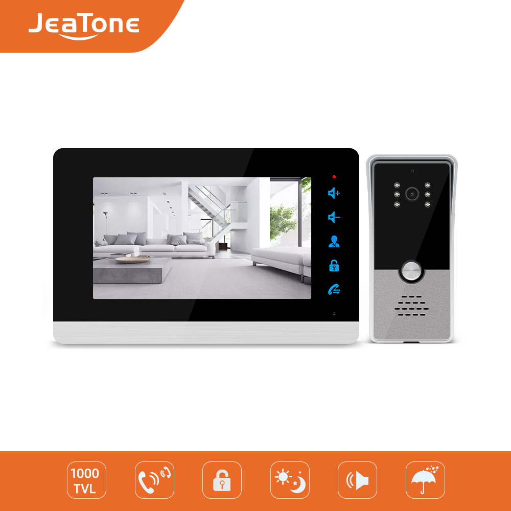 Jeatone 7'' Video Intercom Video Door Phone System, 1000TVL Wide Angle Degree/Day And Night Vision, Support English And Russian