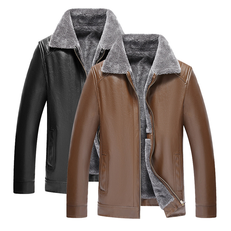 2018 New Style Middle-aged Business Leather Coat Men Fur Jacket Winter Men's Thick PU Leather