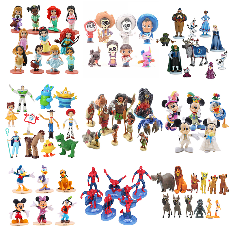 Disney Action Figure Frozen 2 COCO Moana The Lion King Toy Story 4 Princess Mickey Minnie Mouse Winnie The Pooh Toy For Children