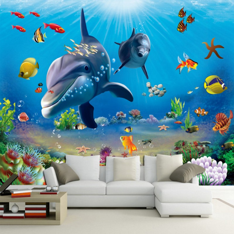 Dropship Custom Photo Wallpaper 3D Stereo Underwater World Cartoon Background Wall Wallpaper Lobby Studio Wallpaper Custom Mural