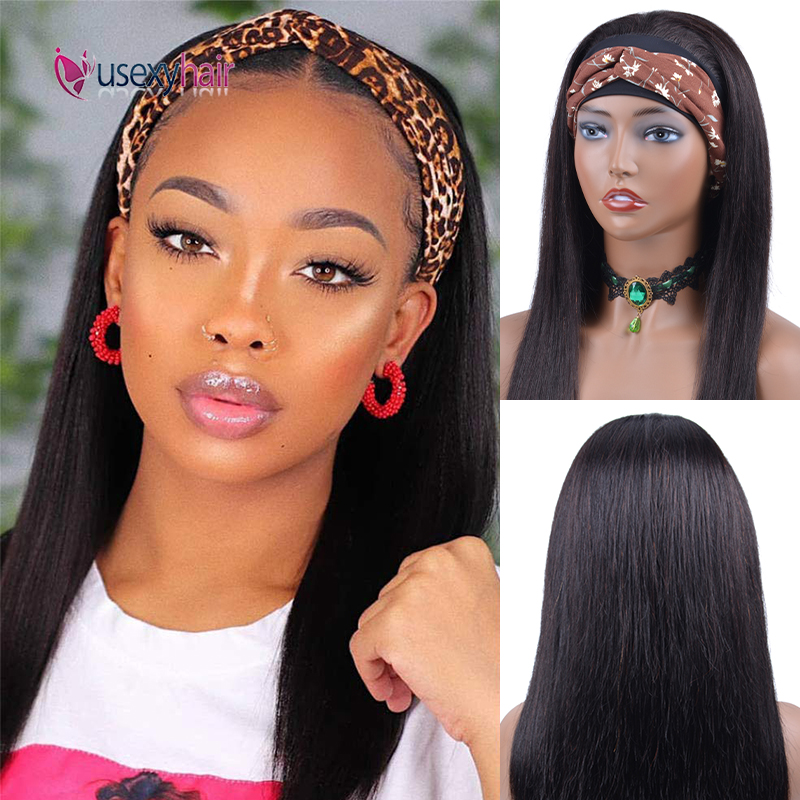 Straight Headband Wig Human Hair Wigs For Black Women Brazilian Remy Full Machine Made Curly Wave Headband Wig Natural Color