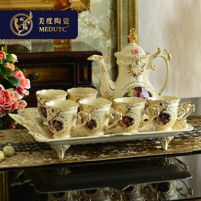 Service à thé européen en porcelaine | Tasse de café avec plateau, verres de luxe, cadeau de mariage, décoration de la maison
