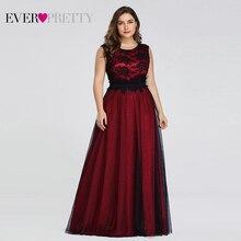 플러스 사이즈 우아한 이브닝 드레스 이제까지 예쁜 부르고뉴 라인 레이스 민소매 섹시한 드레스 파티 EZ07545 로브 드 Soiree 2020